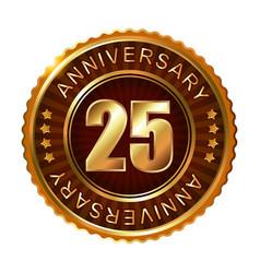25 years anniversary golden brown label vector image vector image
