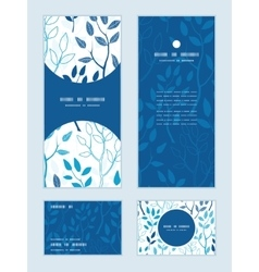 Blue forest vertical frame pattern vector