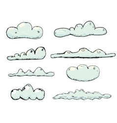 Hand drawn vintage blue clouds vector