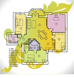 Plan of apartment vector