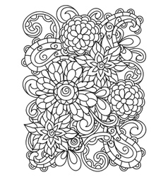 Background with line flowers for adult coloring vector