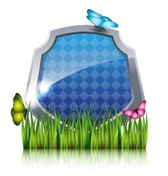 Blue shield with flying butterflies by the grass vector