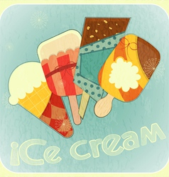 Ice cream retro card vector