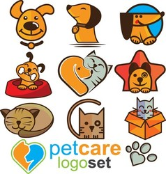 Pet care logo set vector