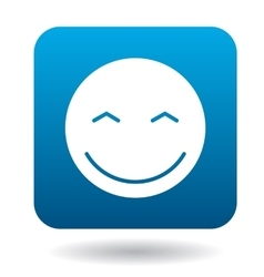 Smiling emoticon with smiling eyes icon vector