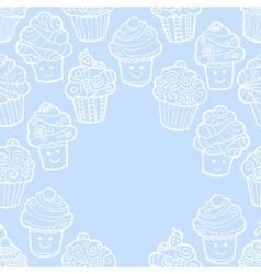 Blue background with cute doodle cupcakes vector image vector image