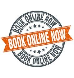 Book online now round orange grungy vintage vector