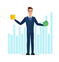 Businessman Hold Money banknotes and coins vector image vector image
