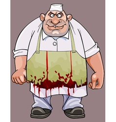 cartoon big fat man in a bloodstained apron vector image vector image