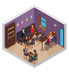 coffee house interior composition vector image