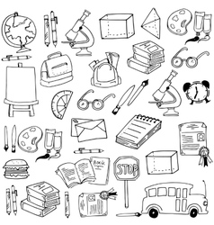 Colleection school education doodles vector
