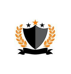 Emblem star ribbon shield vector