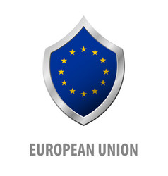 european union flag on metal shiny shield vector image