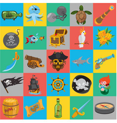 flat pirate icons pirate history vector image vector image