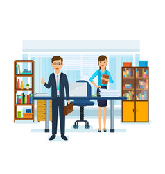 girl in strict work clothes boss with briefcase vector image