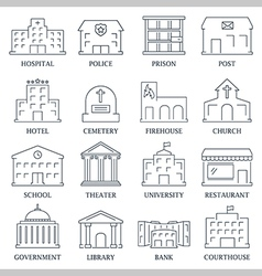Government building icons set vector image vector image