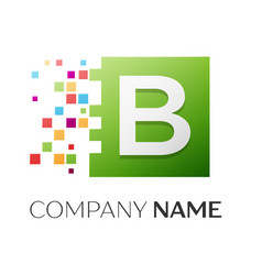 Letter b logo symbol in the colorful square vector