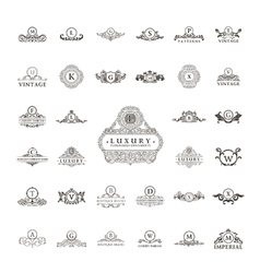 Luxury vintage logos set calligraphic emblems and vector