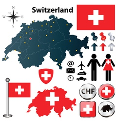 Map of switzerland with regions vector