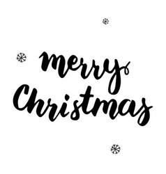 merry christmas handwritten card vector image