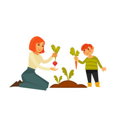 Mother and small son pulling carrot and beet from vector