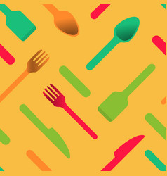 multicolored cutlery icons orange background vector image