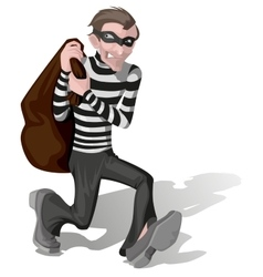 Robber in mask carries bag vector image