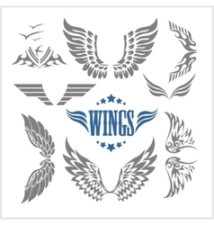 Set of decorative wings isolated vector image vector image
