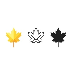 Set Of Maple Leaf Icons Silhouette Colorful Flat vector image