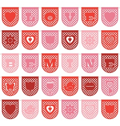valentine paper bunting vector image vector image