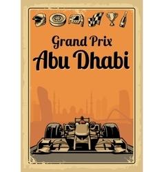 Vintage poster grand prix abu dhabi vector