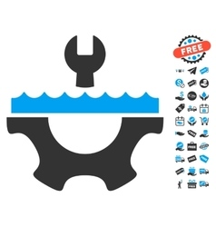 Water service gear icon with free bonus vector