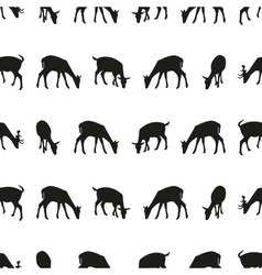 Feeding fallow deer silhouette of animal seamless vector