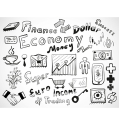 tablet-drawn doodles business and finace theme vector image