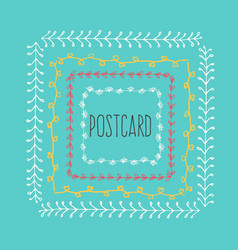 ethnic postcard background with hand drawn line vector image