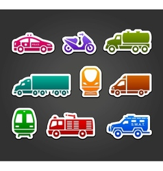 Set of stickers transport color symbols vector image