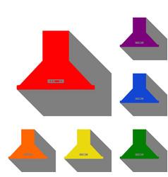 exhaust hood kitchen ventilation sign set of red vector image