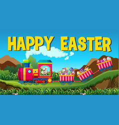 Happy easter with rabbit and eggs on the train vector