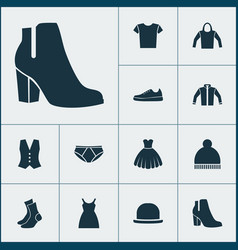 Garment icons set collection of waistcoat dress vector