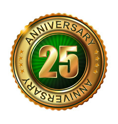 25 years anniversary golden label vector image