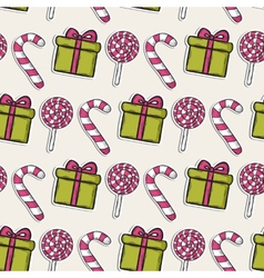 Christmas pattern with pink candy and gifts vector