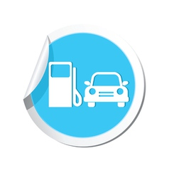 petrol station AND car4 BLUE LABEL vector image