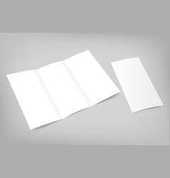 Blank tri fold flyer with cover on gray vector