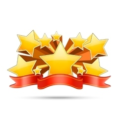 Gold stars with red ribbon space for your text vector