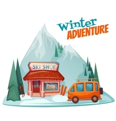 Winter adventure poster with ski shop vector
