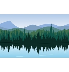 Forest lake panorama vector