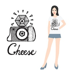 Camera icon with woman vector