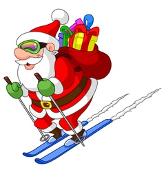 Skiing santa vector