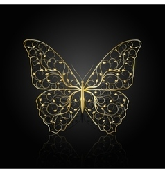 Gold butterfly with floral pattern vector