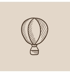 Hot air balloon sketch icon vector